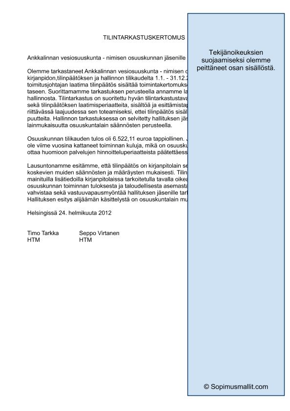 tilintarkastuskertomus yhdistys Uusikaarlepyy