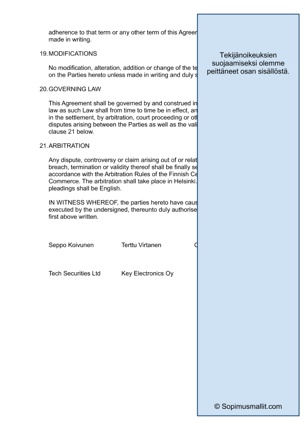 Holders Agreement Investment